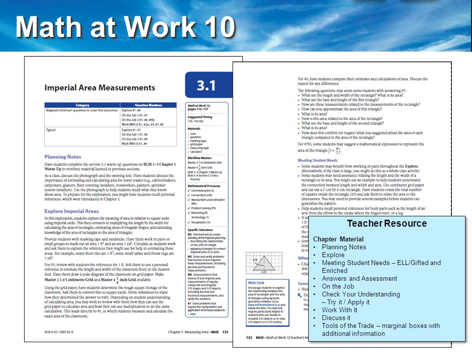 Math at Work 10 Math at Work 10 Teacher Resource Chapter Material Planning Notes Explore Meeting Student Needs – ELL/Gifted and Enriched Answers and Assessment On the Job Check Your Understanding – Try it / Apply it Work With It Discuss it Tools of the Trade – marginal boxes with additional information Teacher Resource Chapter Material Planning Notes Explore Meeting Student Needs – ELL/Gifted and Enriched Answers and Assessment On the Job Check Your Understanding – Try it / Apply it Work With It Discuss it Tools of the Trade – marginal boxes with additional information