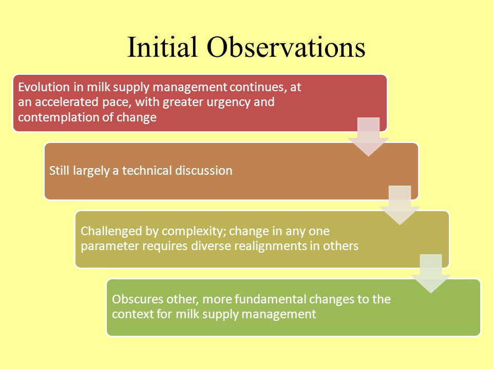 Initial Observations Evolution in milk supply management continues, at an accelerated pace, with greater urgency and contemplation of change Still largely a technical discussion Challenged by complexity; change in any one parameter requires diverse realignments in others Obscures other, more fundamental changes to the context for milk supply management