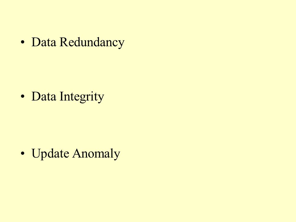 Data Redundancy Data Integrity Update Anomaly