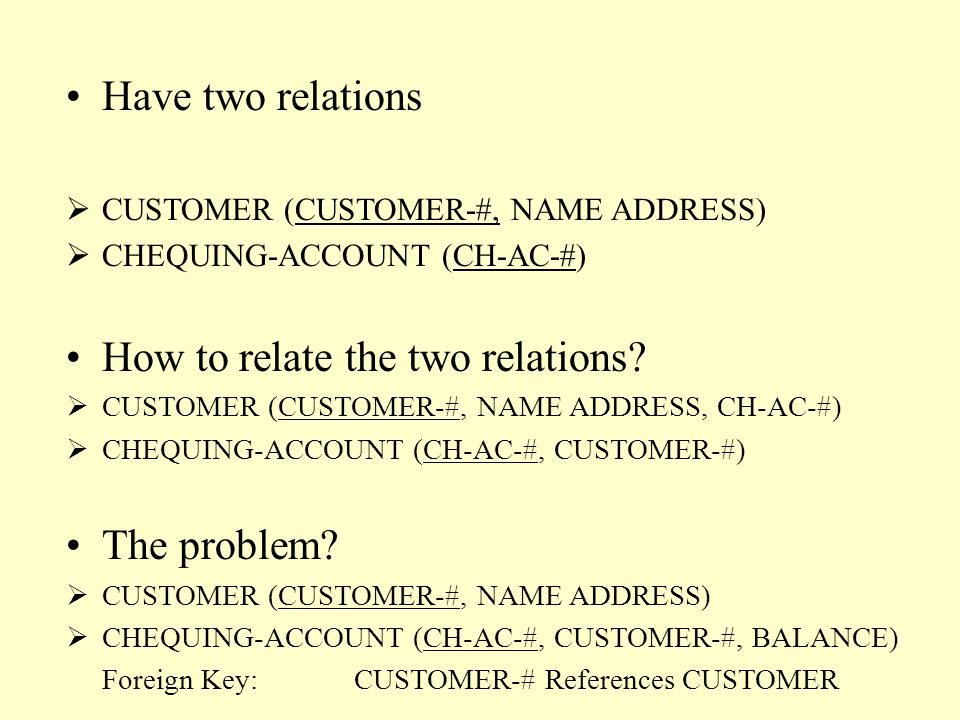 Have two relations  CUSTOMER (CUSTOMER-#, NAME ADDRESS)  CHEQUING-ACCOUNT (CH-AC-#) How to relate the two relations.