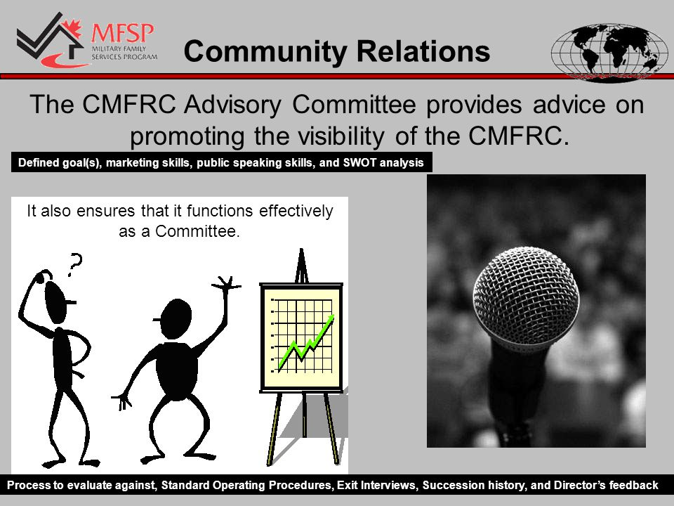 Community Relations The CMFRC Advisory Committee provides advice on promoting the visibility of the CMFRC.