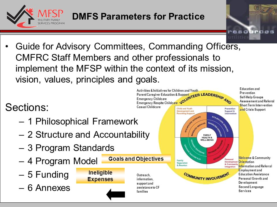 DMFS Parameters for Practice Guide for Advisory Committees, Commanding Officers, CMFRC Staff Members and other professionals to implement the MFSP within the context of its mission, vision, values, principles and goals.