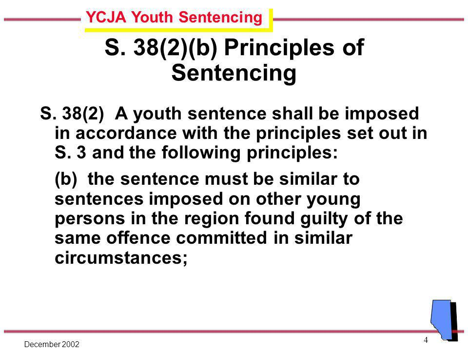 YCJA Youth Sentencing December 2002 4 S. 38(2)(b) Principles of Sentencing S.