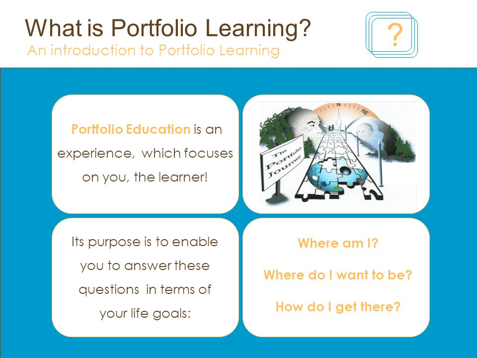 What is Portfolio Learning? An introduction to Portfolio Learning ?  Portfolio Education is an experience, which focuses on you, the learner!  Where am I? - ppt download