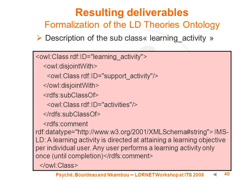 Psyché, Bourdeau and Nkambou – LORNET Workshop at ITS 2008 40 Resulting deliverables Formalization of the LD Theories Ontology  Description of the sub class« learning_activity » IMS- LD: A learning activity is directed at attaining a learning objective per individual user.