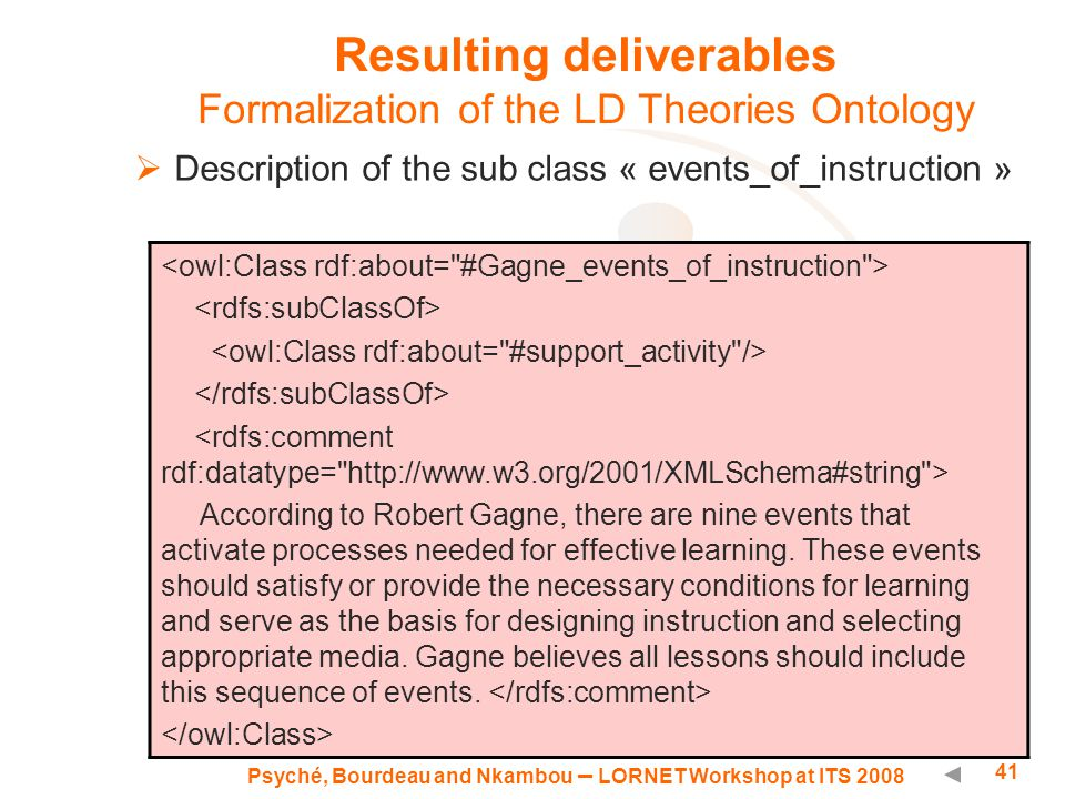 Psyché, Bourdeau and Nkambou – LORNET Workshop at ITS 2008 41 Resulting deliverables Formalization of the LD Theories Ontology  Description of the sub class « events_of_instruction » According to Robert Gagne, there are nine events that activate processes needed for effective learning.