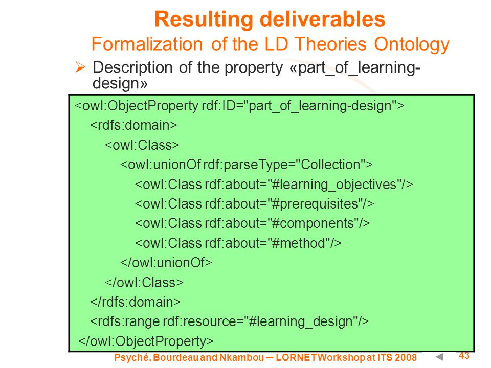 Psyché, Bourdeau and Nkambou – LORNET Workshop at ITS 2008 43 Resulting deliverables Formalization of the LD Theories Ontology  Description of the property «part_of_learning- design»