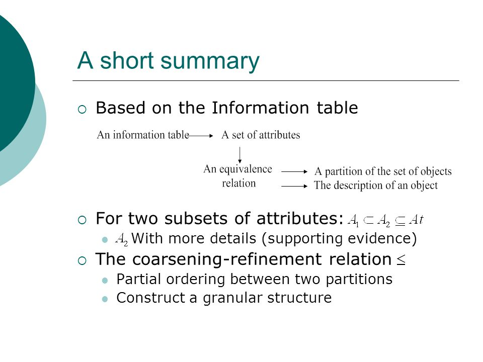 A short summary  Based on the Information table  For two subsets of attributes: With more details (supporting evidence)  The coarsening-refinement relation Partial ordering between two partitions Construct a granular structure