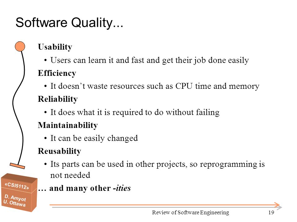 «CSI5112» D. Amyot U. Ottawa Review of Software Engineering19 Software Quality...