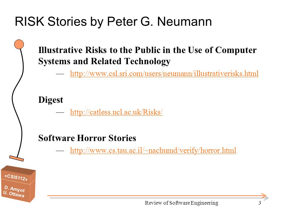 «CSI5112» D. Amyot U. Ottawa Review of Software Engineering3 RISK Stories by Peter G.