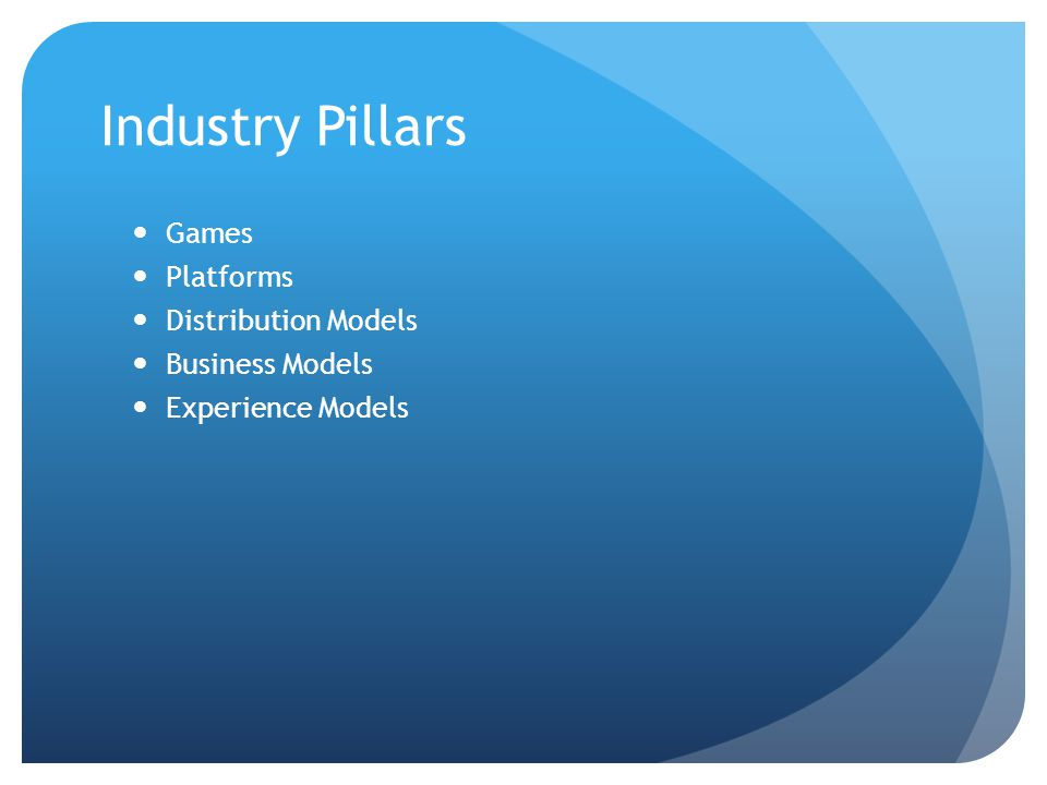 Industry Pillars Games Platforms Distribution Models Business Models Experience Models