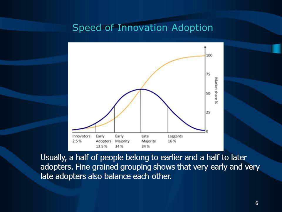 Rogers looks at adoption as a process of innovation diffusion, which involves a communication channel, time, and members of a social system (organization, group).