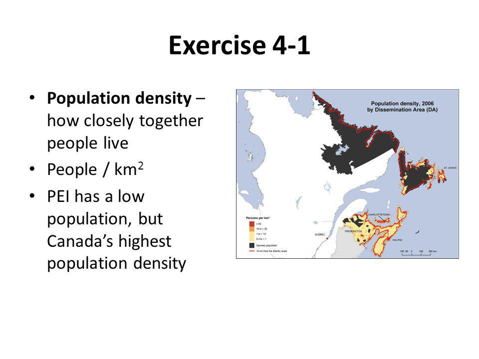Exercise 4-1 Population density – how closely together people live People / km 2 PEI has a low population, but Canada's highest population density