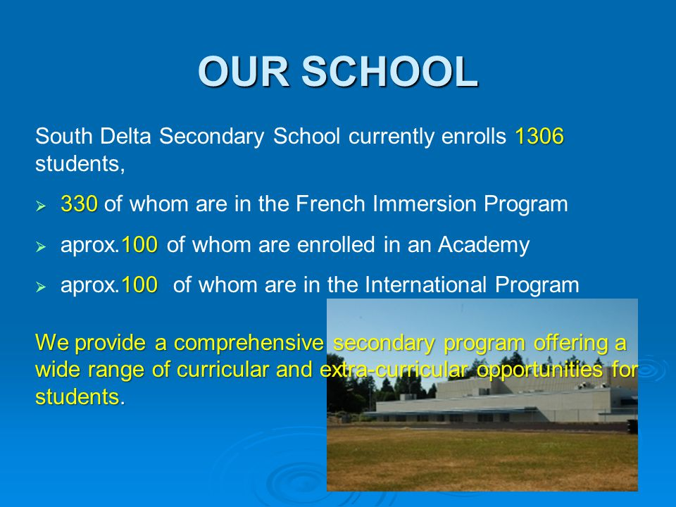OUR SCHOOL 1306 South Delta Secondary School currently enrolls 1306 students,  330  330 of whom are in the French Immersion Program 100  aprox.100 of whom are enrolled in an Academy 100  aprox.100 of whom are in the International Program We provide a comprehensive secondary program offering a wide range of curricular and extra-curricular opportunities for students.