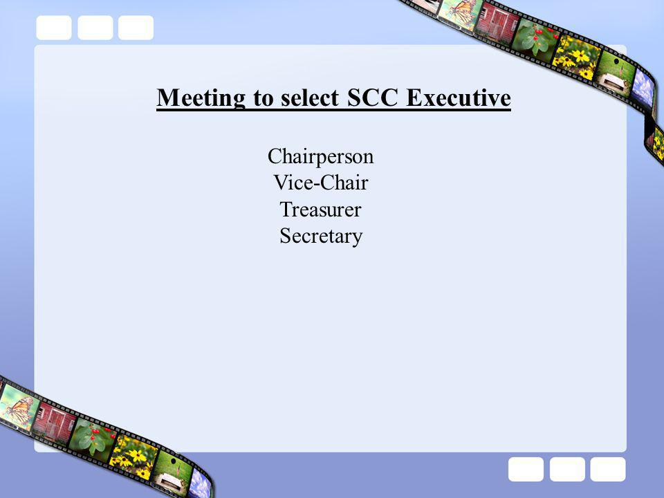 Meeting to select SCC Executive Chairperson Vice-Chair Treasurer Secretary