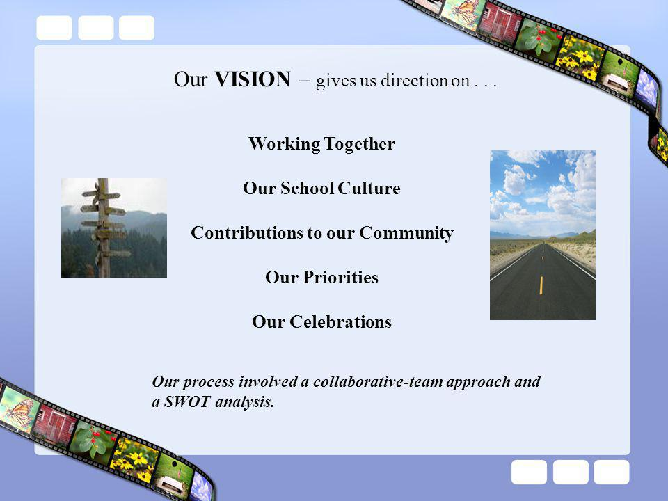 Our VISION – gives us direction on...