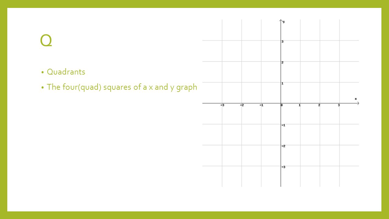 Q Quadrants The four(quad) squares of a x and y graph