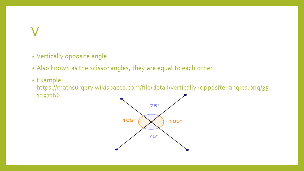 V Vertically opposite angle Also known as the scissor angles, they are equal to each other.