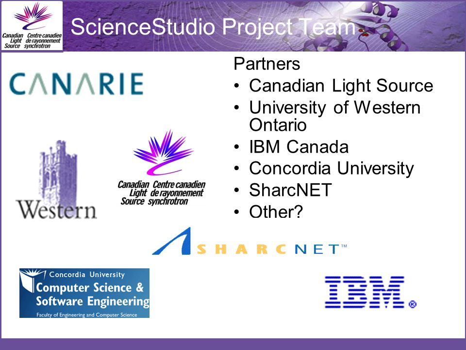 ScienceStudio Project Team Partners Canadian Light Source University of Western Ontario IBM Canada Concordia University SharcNET Other
