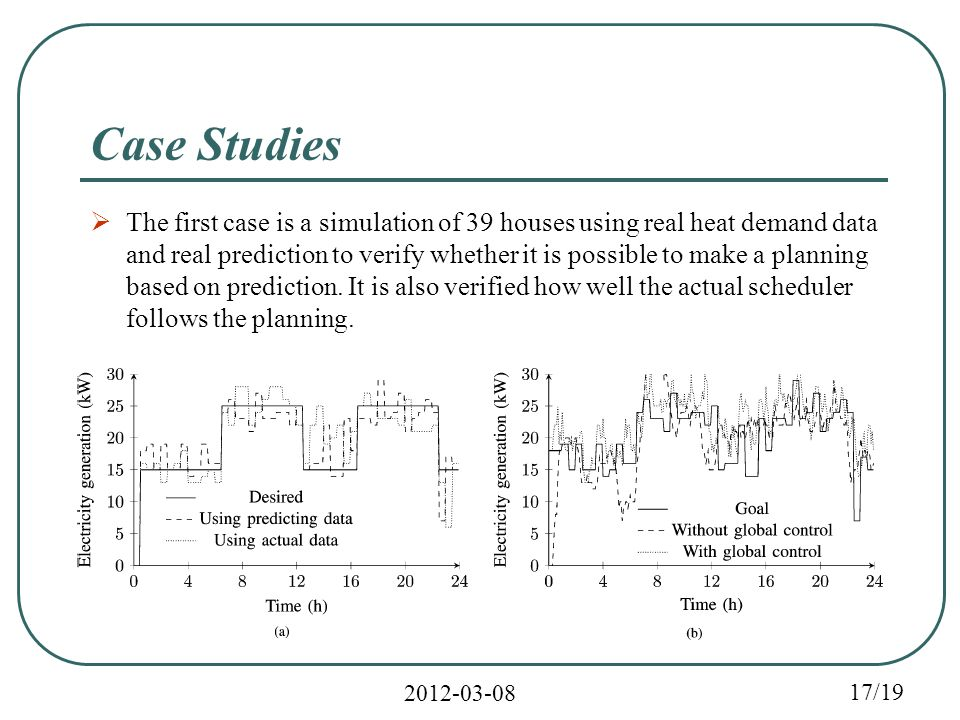 2012-03-08 17/19 Case Studies  The first case is a simulation of 39 houses using real heat demand data and real prediction to verify whether it is possible to make a planning based on prediction.