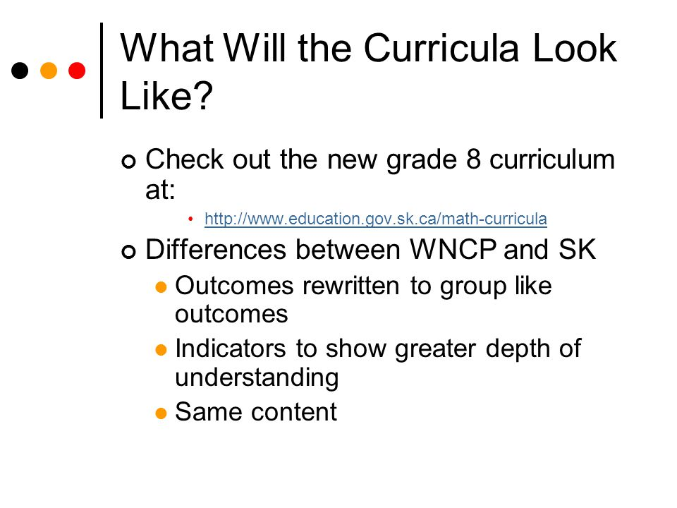What Will the Curricula Look Like.