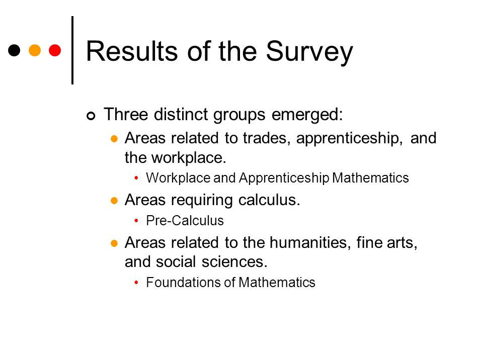 Results of the Survey Three distinct groups emerged: Areas related to trades, apprenticeship, and the workplace.