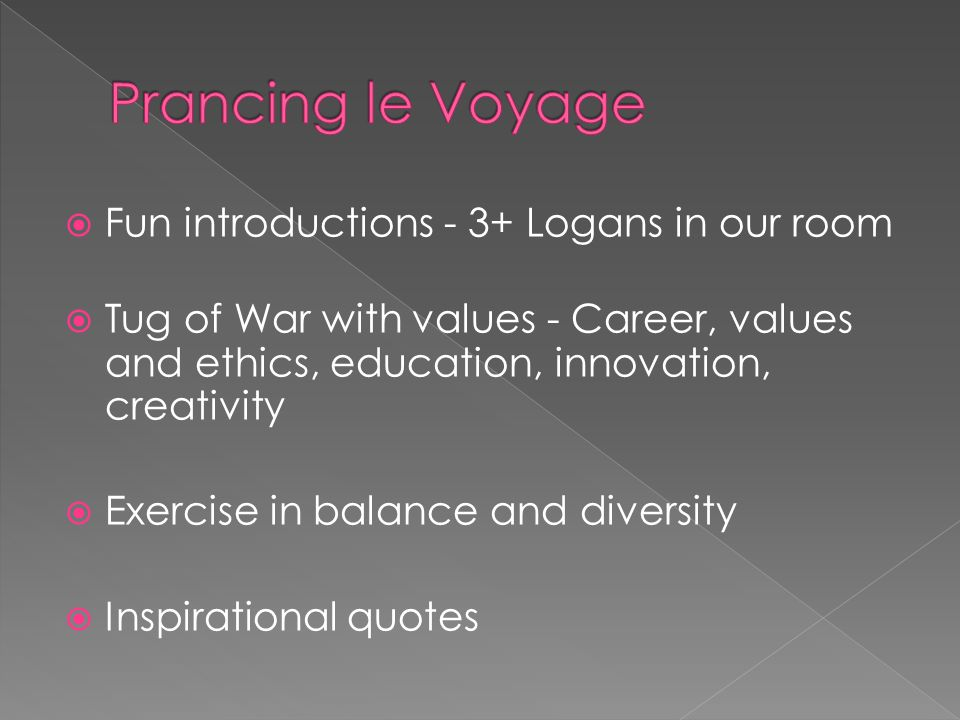  Fun introductions - 3+ Logans in our room  Tug of War with values - Career, values and ethics, education, innovation, creativity  Exercise in balance and diversity  Inspirational quotes