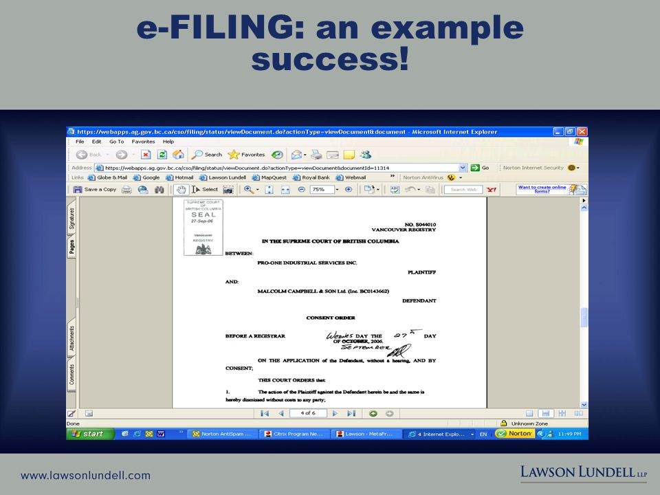 e-FILING: an example success!