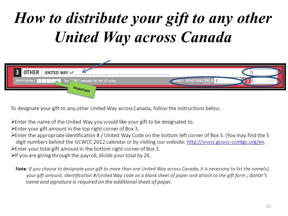 9 Option 2 (Priority Areas):  Enter your gift amount into one or more of Centraide Outaouais' priority areas.