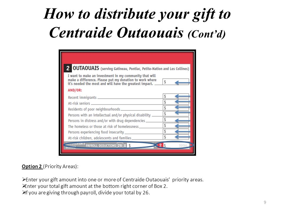 8 To designate to Centraide Outaouais, you can choose between Option 1 and/ or Option 2: Option 1 (Where it is needed most):  Enter your gift amount in the top right corner of Box 2.