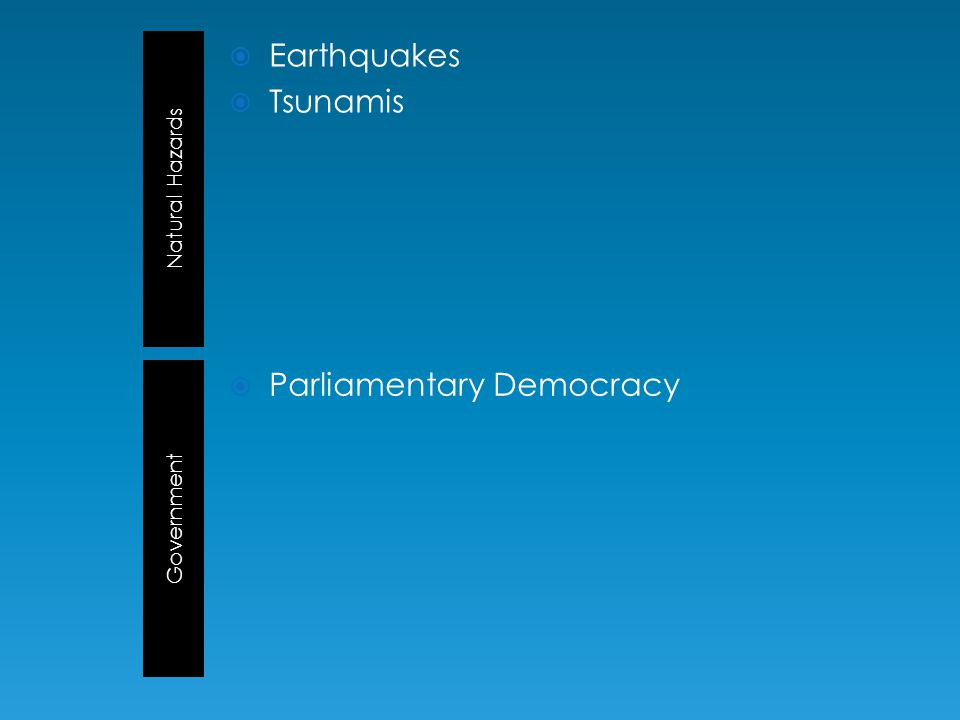 Natural Hazards Government  Earthquakes  Tsunamis  Parliamentary Democracy