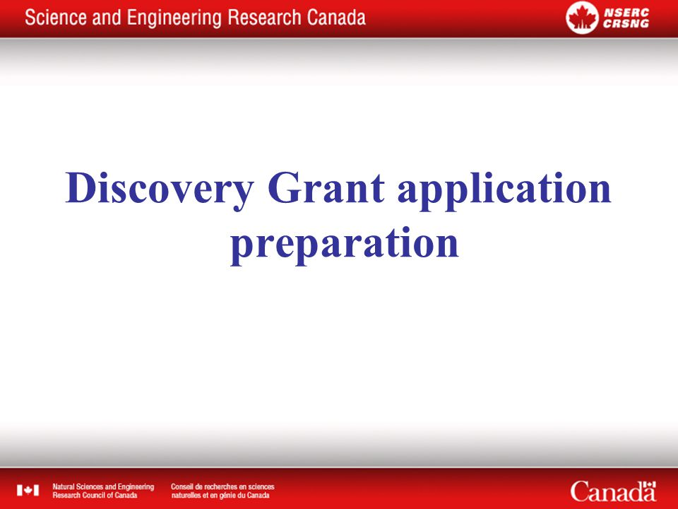 Discovery Grant application preparation