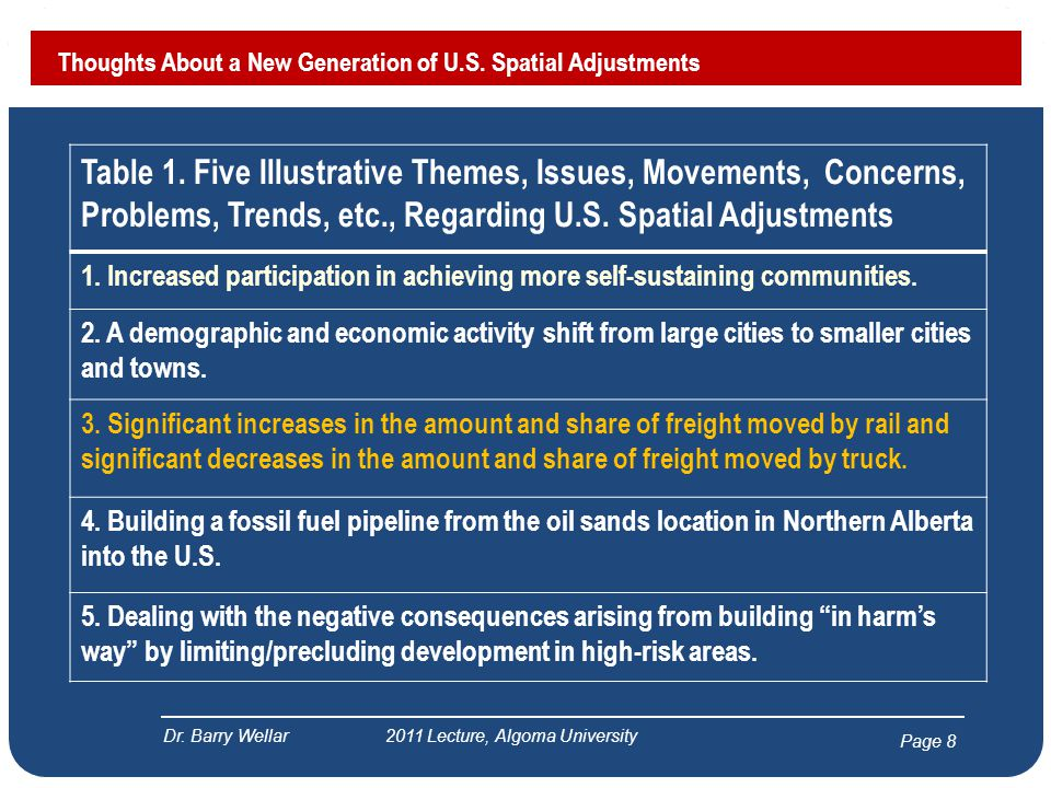 Page 8 Thoughts About a New Generation of U.S. Spatial Adjustments Dr.
