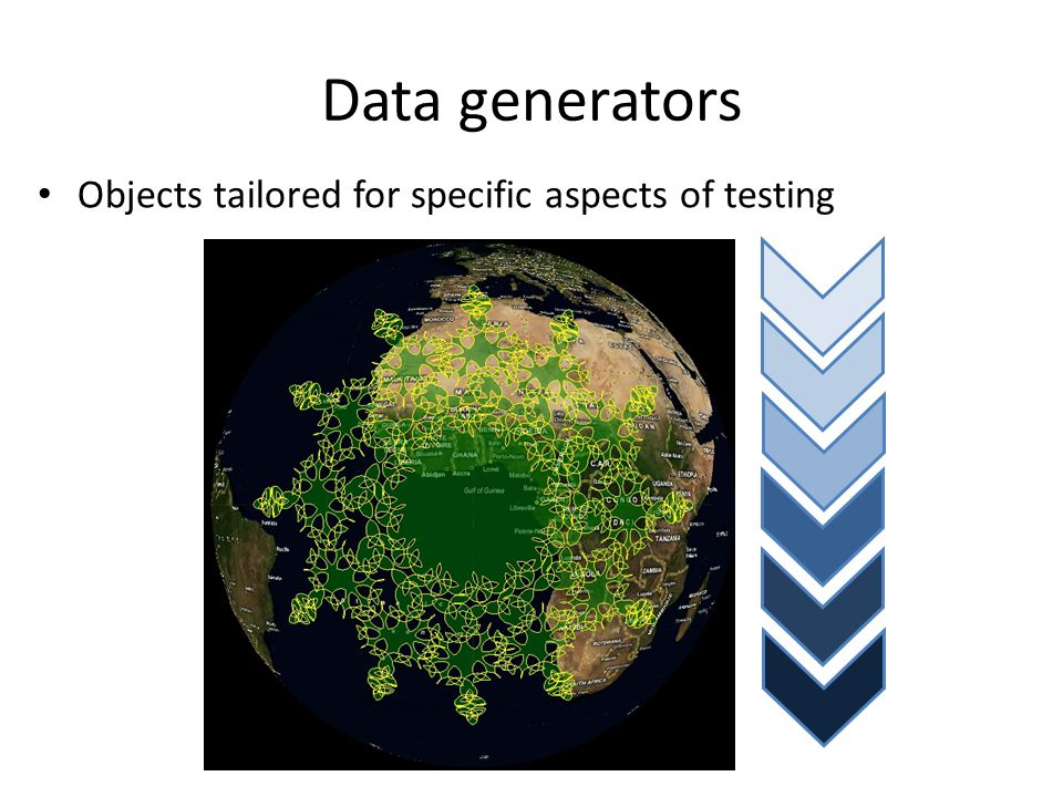 Data generators Objects tailored for specific aspects of testing