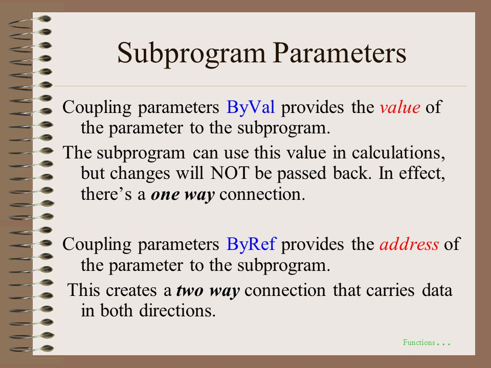 Subprogram Parameters Coupling parameters ByVal provides the value of the parameter to the subprogram.