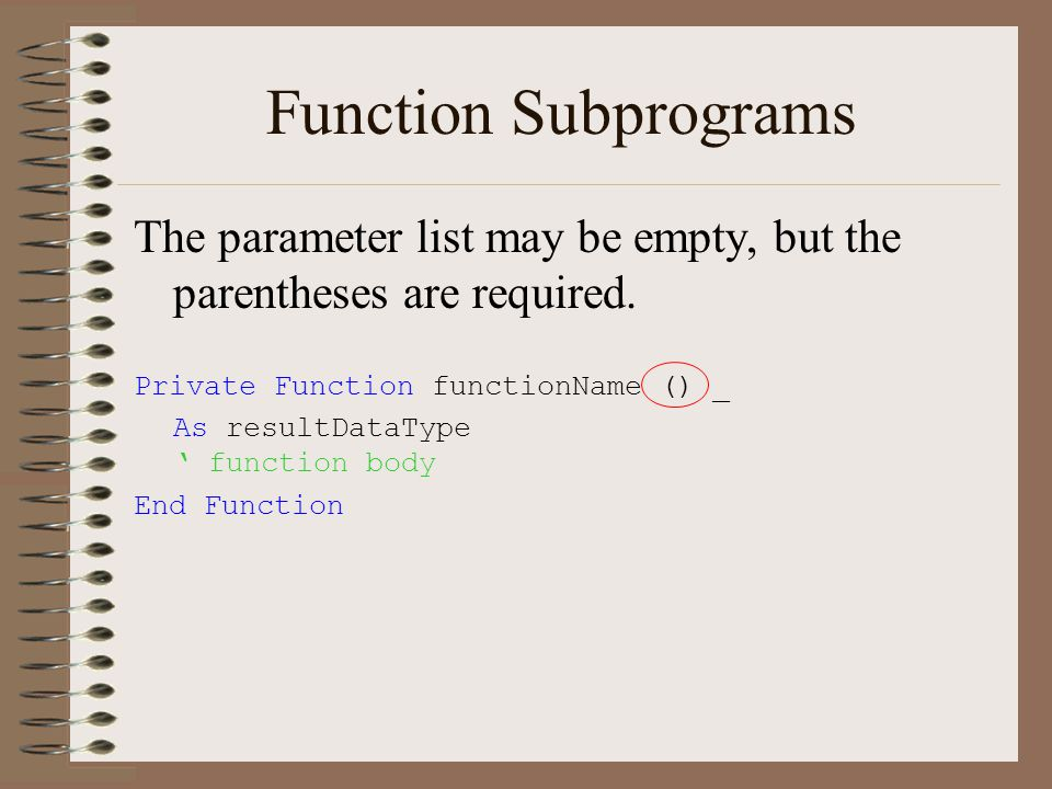 Function Subprograms The parameter list may be empty, but the parentheses are required.