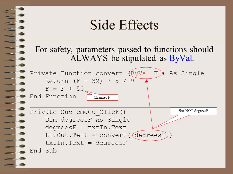 Side Effects For safety, parameters passed to functions should ALWAYS be stipulated as ByVal.