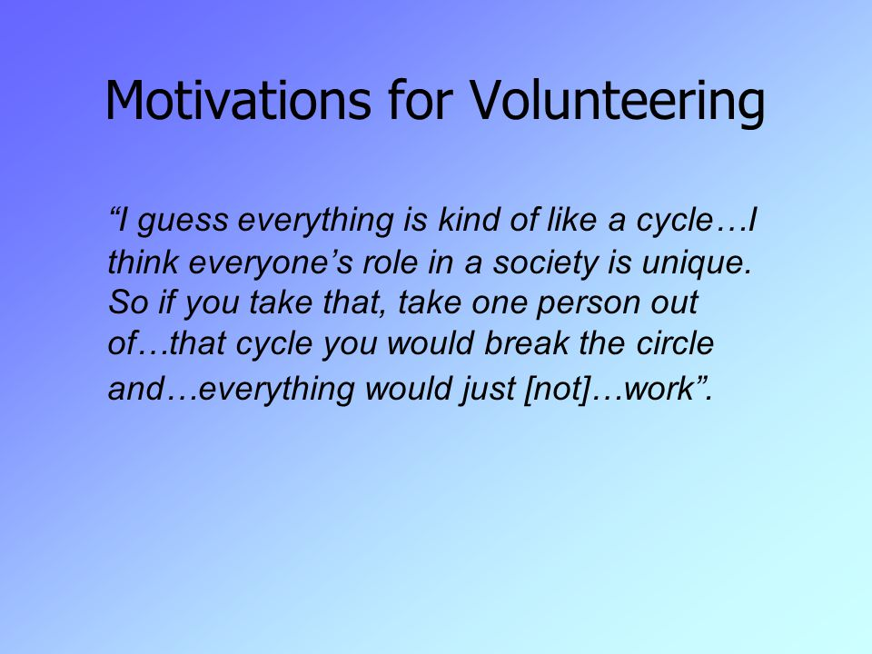 Motivations for Volunteering I guess everything is kind of like a cycle…I think everyone's role in a society is unique.