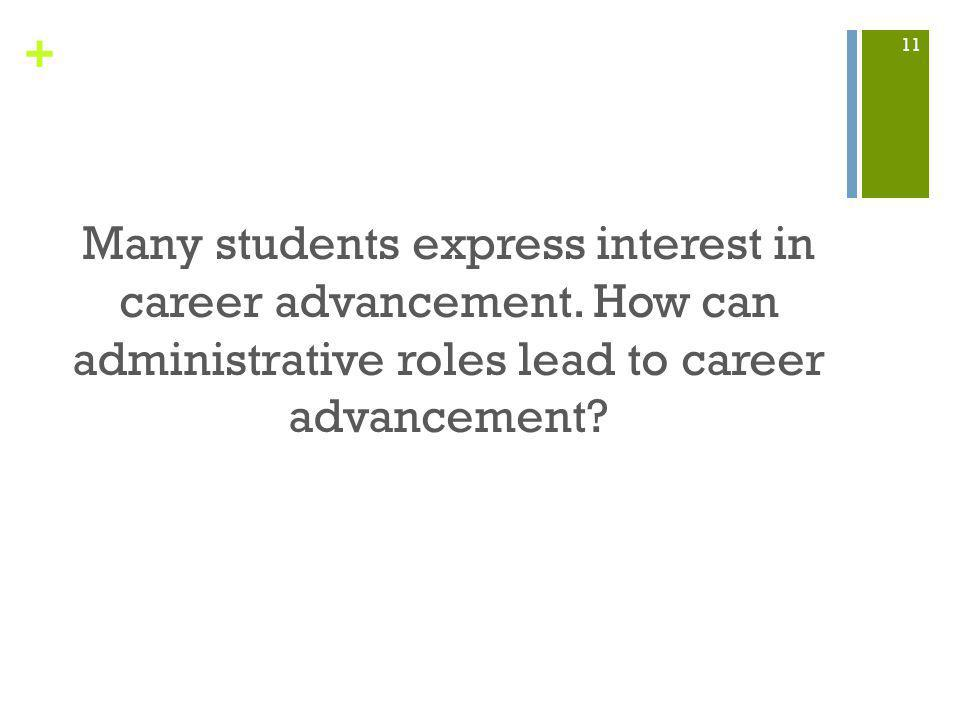 + Many students express interest in career advancement.