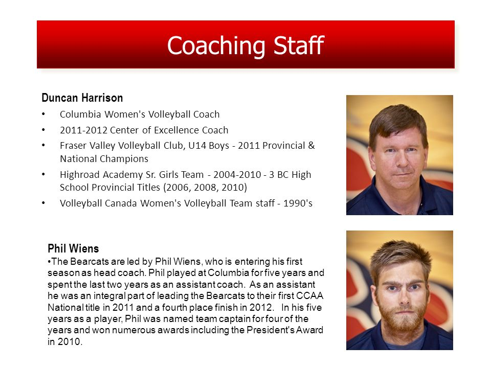 Coaching Staff Duncan Harrison Columbia Women s Volleyball Coach 2011-2012 Center of Excellence Coach Fraser Valley Volleyball Club, U14 Boys - 2011 Provincial & National Champions Highroad Academy Sr.
