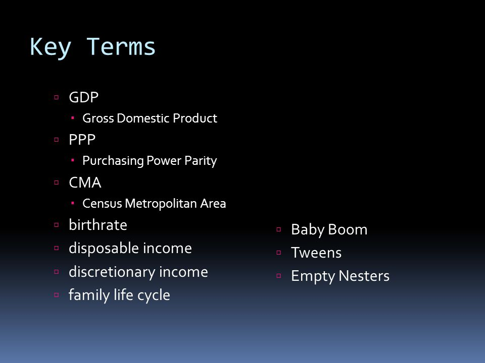 Key Terms  GDP  Gross Domestic Product  PPP  Purchasing Power Parity  CMA  Census Metropolitan Area  birthrate  disposable income  discretionary income  family life cycle  Baby Boom  Tweens  Empty Nesters