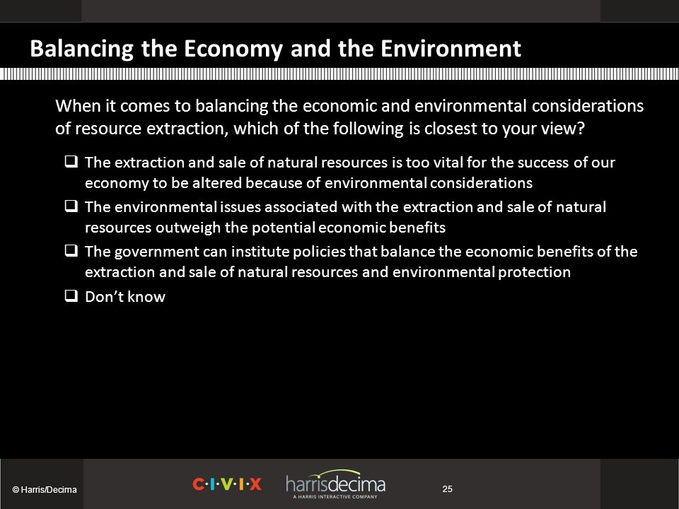 Balancing the Economy and the Environment When it comes to balancing the economic and environmental considerations of resource extraction, which of the following is closest to your view.