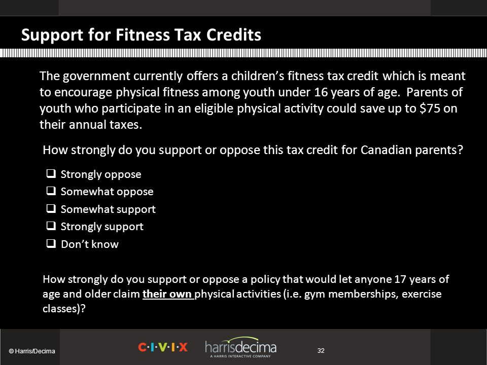 Support for Fitness Tax Credits The government currently offers a children's fitness tax credit which is meant to encourage physical fitness among youth under 16 years of age.