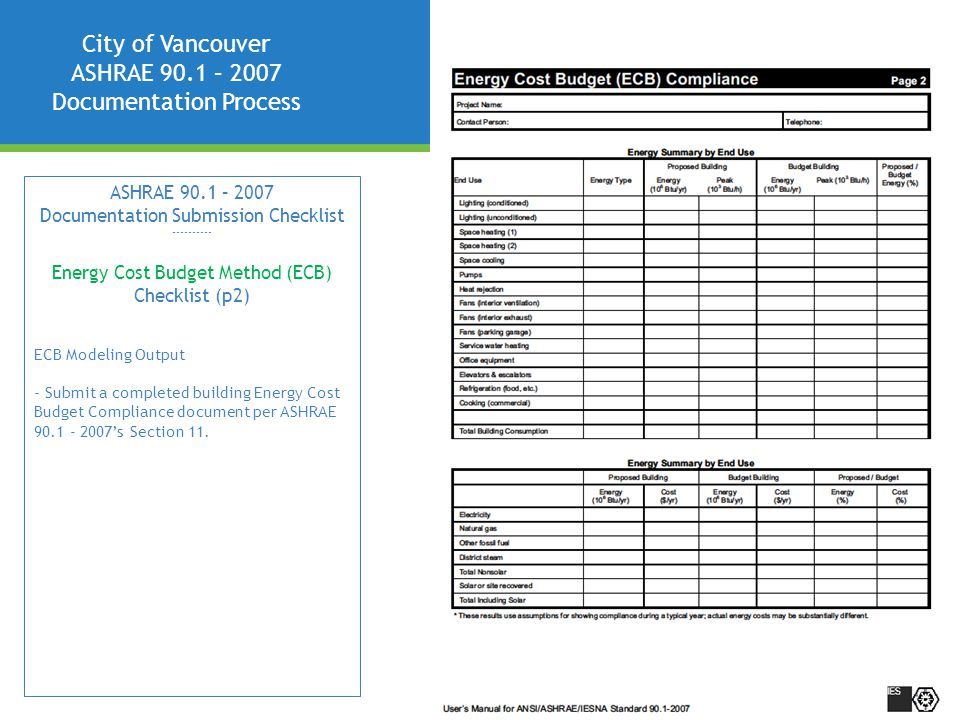 City of Vancouver ASHRAE 90.1 – 2007 Documentation Process ASHRAE 90.1 – 2007 Documentation Submission Checklist ---------- Energy Cost Budget Method (ECB) Checklist (p2) ECB Modeling Output - Submit a completed building Energy Cost Budget Compliance document per ASHRAE 90.1 - 2007's Section 11.