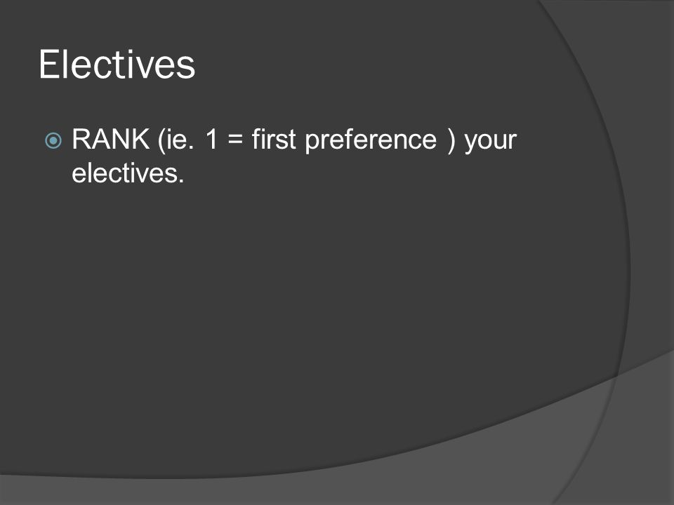 Electives  RANK (ie. 1 = first preference ) your electives.