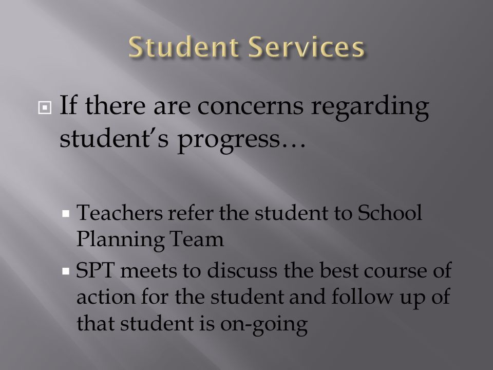  If there are concerns regarding student's progress…  Teachers refer the student to School Planning Team  SPT meets to discuss the best course of action for the student and follow up of that student is on-going