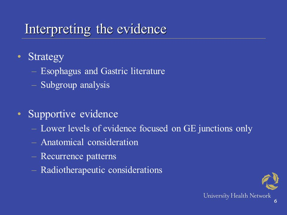 6 Interpreting the evidence Strategy –Esophagus and Gastric literature –Subgroup analysis Supportive evidence –Lower levels of evidence focused on GE junctions only –Anatomical consideration –Recurrence patterns –Radiotherapeutic considerations