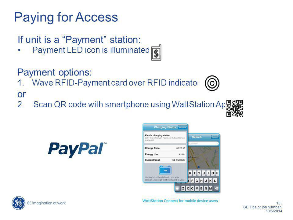 10 / GE Title or job number / 10/6/2014 Paying for Access If unit is a Payment station: Payment LED icon is illuminated Payment options: 1.Wave RFID-Payment card over RFID indicator or 2.