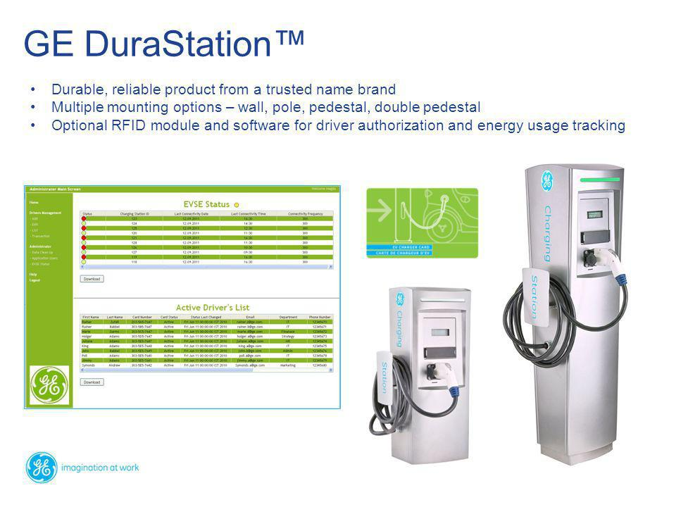 Durable, reliable product from a trusted name brand Multiple mounting options – wall, pole, pedestal, double pedestal Optional RFID module and software for driver authorization and energy usage tracking GE DuraStation™