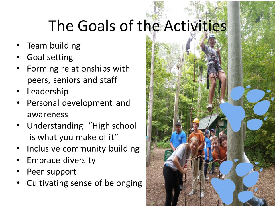 Team building Goal setting Forming relationships with peers, seniors and staff Leadership Personal development and awareness Understanding High school is what you make of it Inclusive community building Embrace diversity Peer support Cultivating sense of belonging The Goals of the Activities